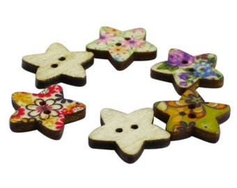 Decorated wooden buttons.  100pcs wood buttons