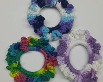 Crochet Hair ties, Scrunchie Hair ties,Multi Color Scrunchies, Crochet Pony Tail Holders,Pony Tail Holders,Kids Hair Accessories, Hair Tie
