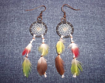 """Earrings """"Dreamcatcher"""" colorful feathers"""