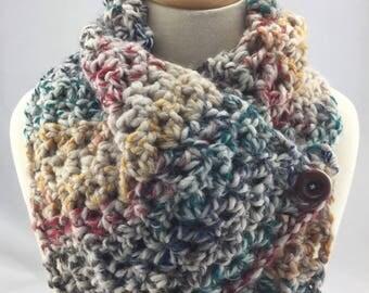 Cowl scarf neckwarmer multicoloured rainbow wool blend thick