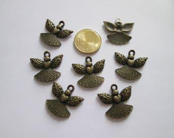 6 breloque, pendentif ange en métal bronze 23 x 21mm