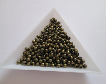 100 perles bille lisse en métal bronze 3mm