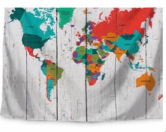 Tan Wood World Map Tapestry