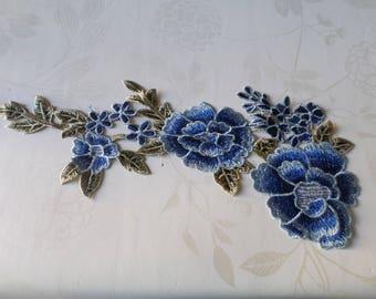x 1 P43 blue floral sheer lace guipure applique
