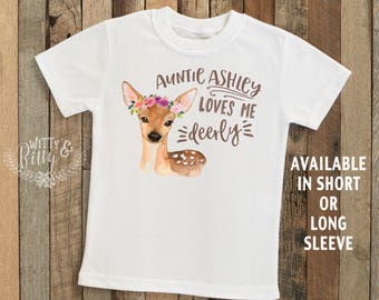 Auntie Loves Me Deerly Personalized Kids Shirt, Gift from Auntie, Gift for Niece, Customized Kids Shirt, Boho Kids Shirt - T181A