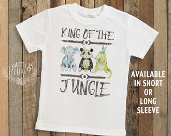 King Of The Jungle Kids Shirt with Panda Elephant Alligator, Boho Kids Shirt, Funny Kids Shirt, Zoo Animal Tee, Boho Kids Shirt - T294K