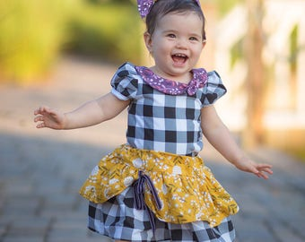 Girls Fall Outfit- Plaid and Yellow Shirt and Skirt- Toddlers and Little Girls