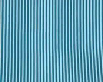 Turquoise and white 2mm stripe cotton fabric