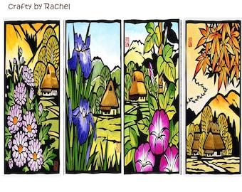 Botanical Bookmarks,landscapes bookmark - set of 4 bookmarks