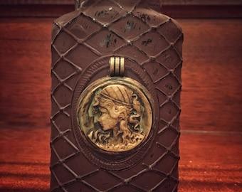 Hand painted Distressed Vintage Creepy Antique Glass OOAK Bottle