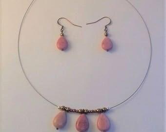 rhodonite necklace and earrings earings