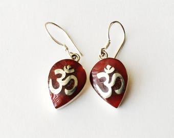 925 Sterling Silver  Coral Indian Om Earrings