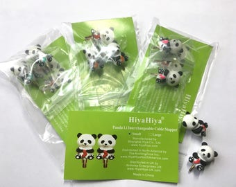 HiyaHiya Pack of 2 Panda Cable Stoppers, Small Panda Cable stoppers, Knitters Gift, Knitting Accessory