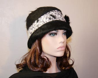 Classy wool black and white fashion Hat lace Arianna 12