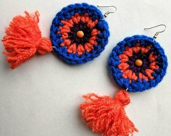 Crochet Tassel Earrings Orange Blue Purple Large Handmade Statement Jewelry Boho Round Cotton Earrings Beaded Yarn Colorful Mandala Earrings