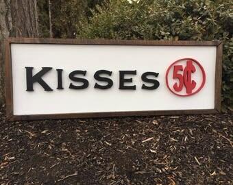 Valentine Farm Style Wood Framed Sign - Kisses - Farm Style Wood Sign - Framed Wood Sign - Wood Lettering - Valentine Decor