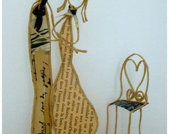 Peynet lovers - Twine reinforced kraft and original papers figurines - decoration gift couple love engagement wedding