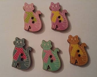 5 buttons wood cat 30 x 16 mm n211