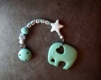 """Bite/Pacifier/mobile """"elephant"""" in mint with wish name < 3/baby/birth/baptism/mobile for Baby Cup"""