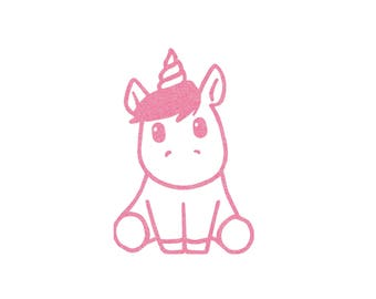 Baby Unicorn design in flex fusible - size and color choice