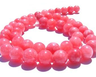 8 rhodochrosites d'Argentine de 8 mm perles pierre rose.