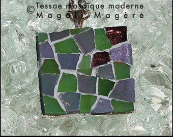 Square pendant, mosaic green and purple, metal and silver chain Made inFrance - original and unique Creation - Tessae modern mosaic