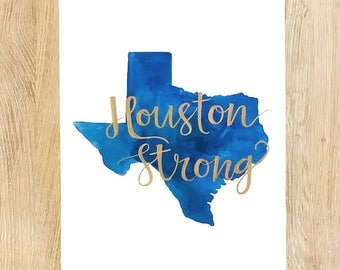 "Texas ""Houston Strong"" Original Watercolor Painting"