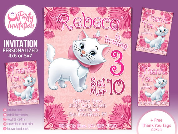 Marie Aristocats Invitation And Free Thank You Tags Marie