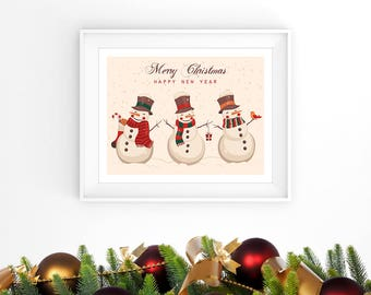 Snowmen Art Print Christmas Decor Merry Christmas and Happy New Year Printable Wall Art Winter Nursery or Kids Wall Decor Digital Download
