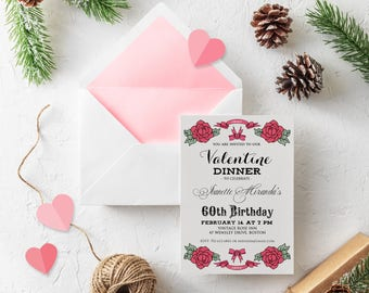 Valentine Dinner Birthday Invitatons Printable Floral Birthday Invitations Valentine Party Ivory Any Age Adult Bday Invites Digital Download