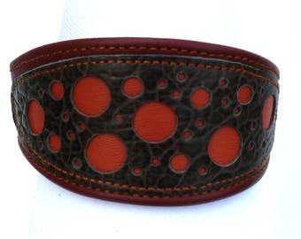 chestnut brown leather dog collar