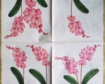 TOWEL in paper #F095 pink orchids