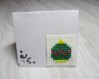"Mini Card mark up embroidered ""Christmas green and yellow ball"""