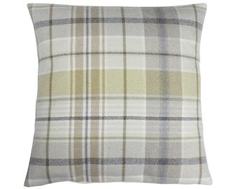 Troon Ochre Checked Tartan Plaid Cushion Cover