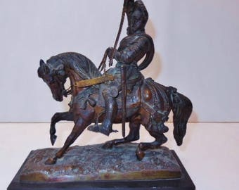Antique Metal Figure of a Knight on Horseback