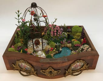 Fairy Garden in an Antique Jewelry Box Drawer