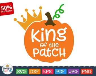 King of the Patch Svg Halloween Pumpkin clipart Pumpkin with crown svg cut file Fall Harvest Svg Autumn Saying Printable Cutable Design dxf