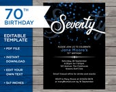 70th Birthday Invite, Cus...