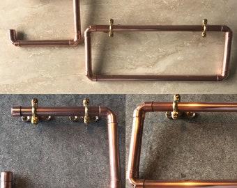 Copper pipe industrial bathroom towel / toilet roll holder