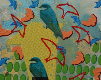 Birds that are blue and orange mixed media painting