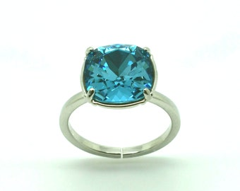 Ring square solitaire ring, Swarovski ring, ring indicolite, silver plated Adjustable ring