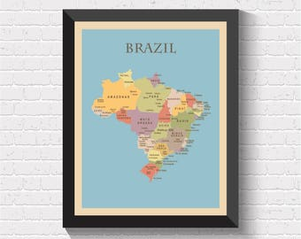 Brazil Map, Brazil Poster, Map of Brazil, Brazil Print, Brazil Art, Brazil Map Print, Brazil Art Print, Brazil Decor, Office Decor