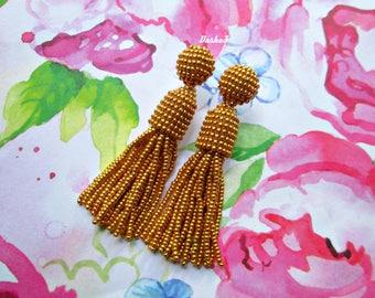 Gold color/oscar de la rente/stud earring/beading dangle/handmade/Unique Gift/earrings/drop earrings/Short-tassel/dangle earrings