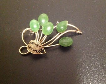 Vintage Jade Brooch with gold tone filigree