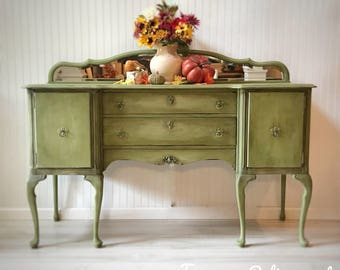 Hand Painted Queen Anne Style Buffet