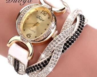 Duoya Luxury Gold Crystal Leather Band Wrist Watch