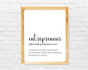 Entrepreneur gift, funny entrepreneur definition print, Entrepreneur print, Co-worker print, Sarcastic work print, Fun gift for entrepreneur