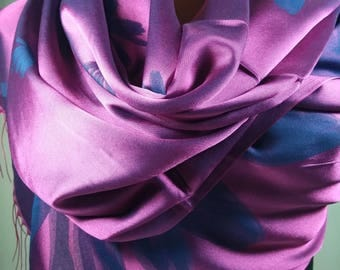 silk shawl,romantic fuchsia shawl,scarf