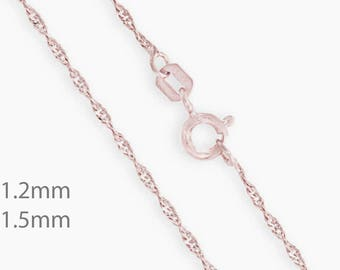14K Singapore Chain. 1.2mm Chain. 1.5mm Chain. 14K Chain Necklace.