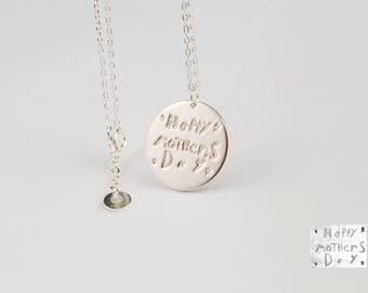 Drawing Necklace • Children necklace for mom • Children Artwork Necklace • Actual Kids Drawing Necklace • Handwriting Necklace • #NHDC001